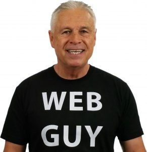 Ned Buratovich wearing WEB GUY T-shirt