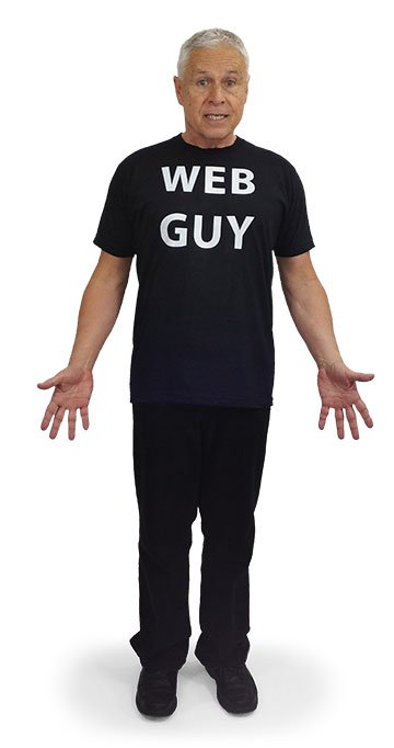 Ned wearing his WEB GUY T-shirt