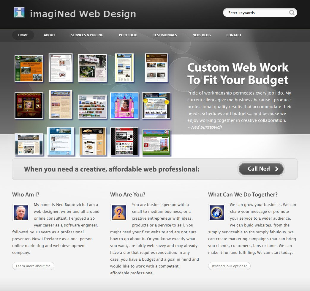 Reliable Index Image Design Home Page: website home image