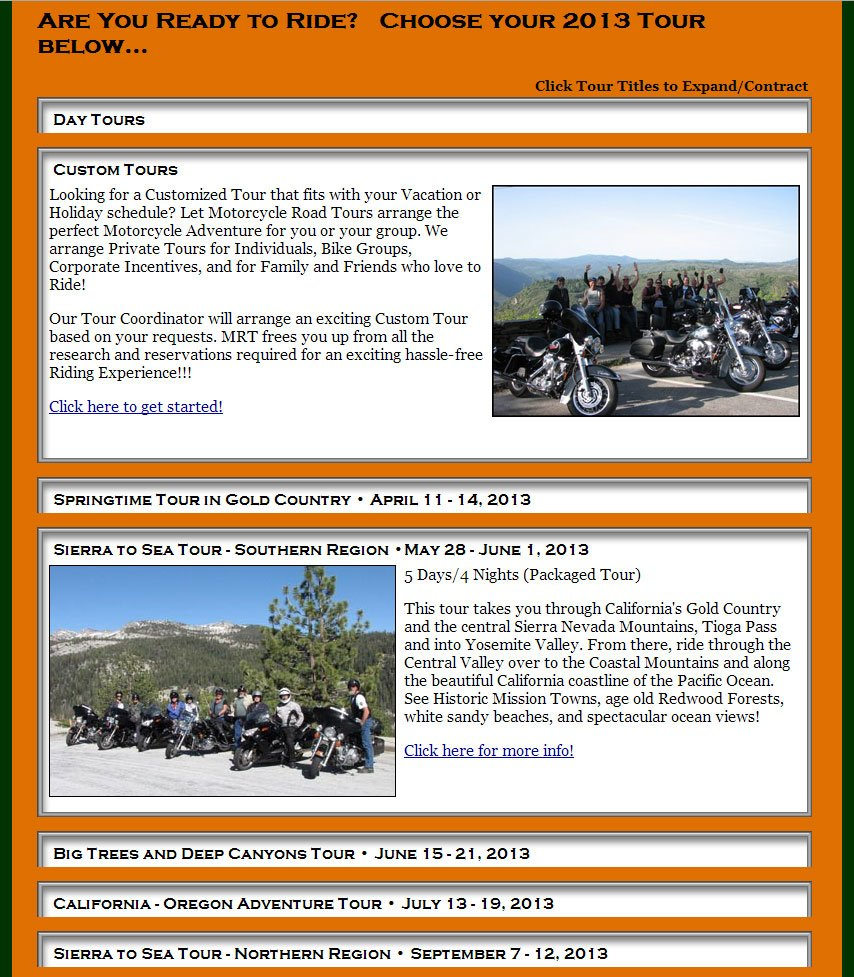 Motorcycle Road Tours - Expandable / Collapsible Tour Index