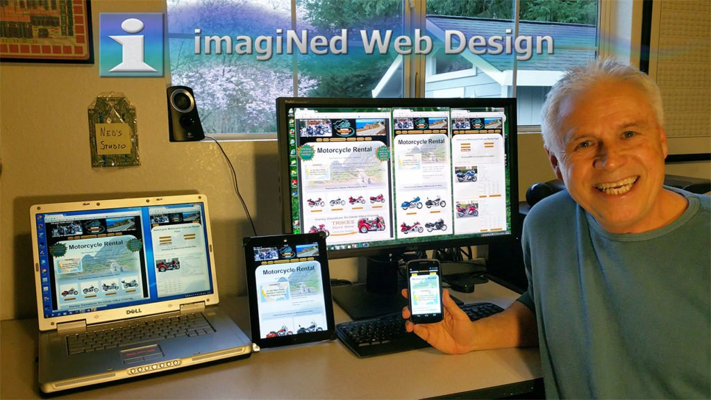 Ned in his studio office, showing his designs on desktop, laptop, tablet and cellphone screens.
