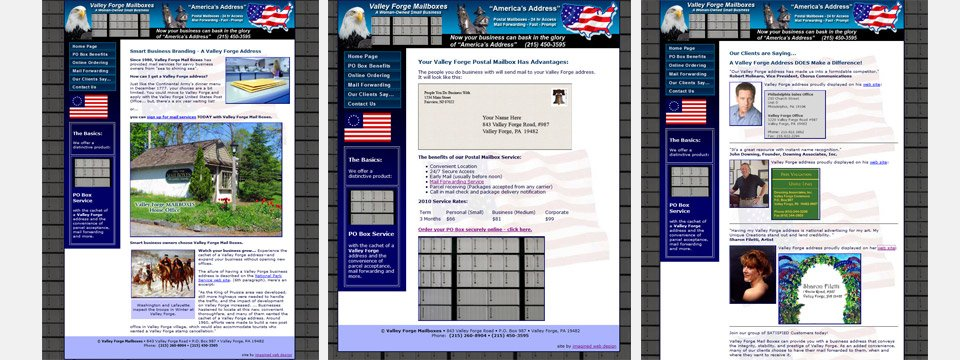 Pages from the ValleyForgeMailboxes.com website