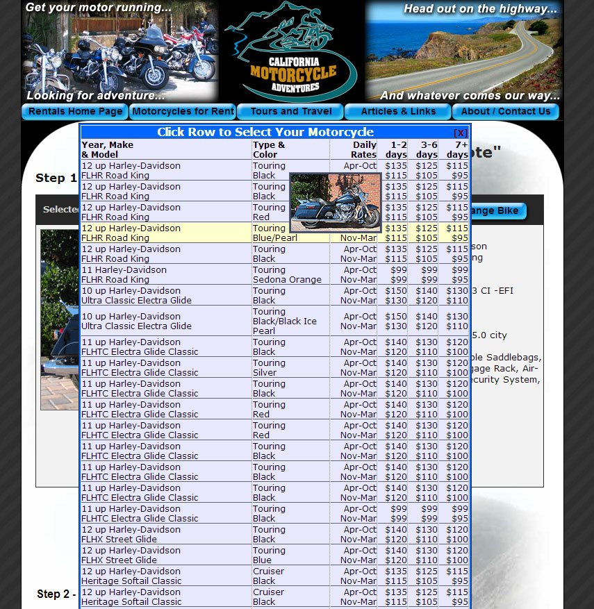 Custom Designed Bike Selector Menu