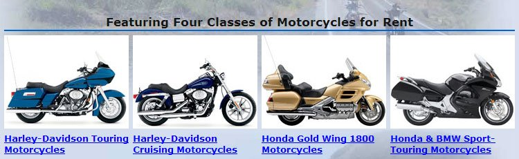 Four Classes of Motorcycles for Rent