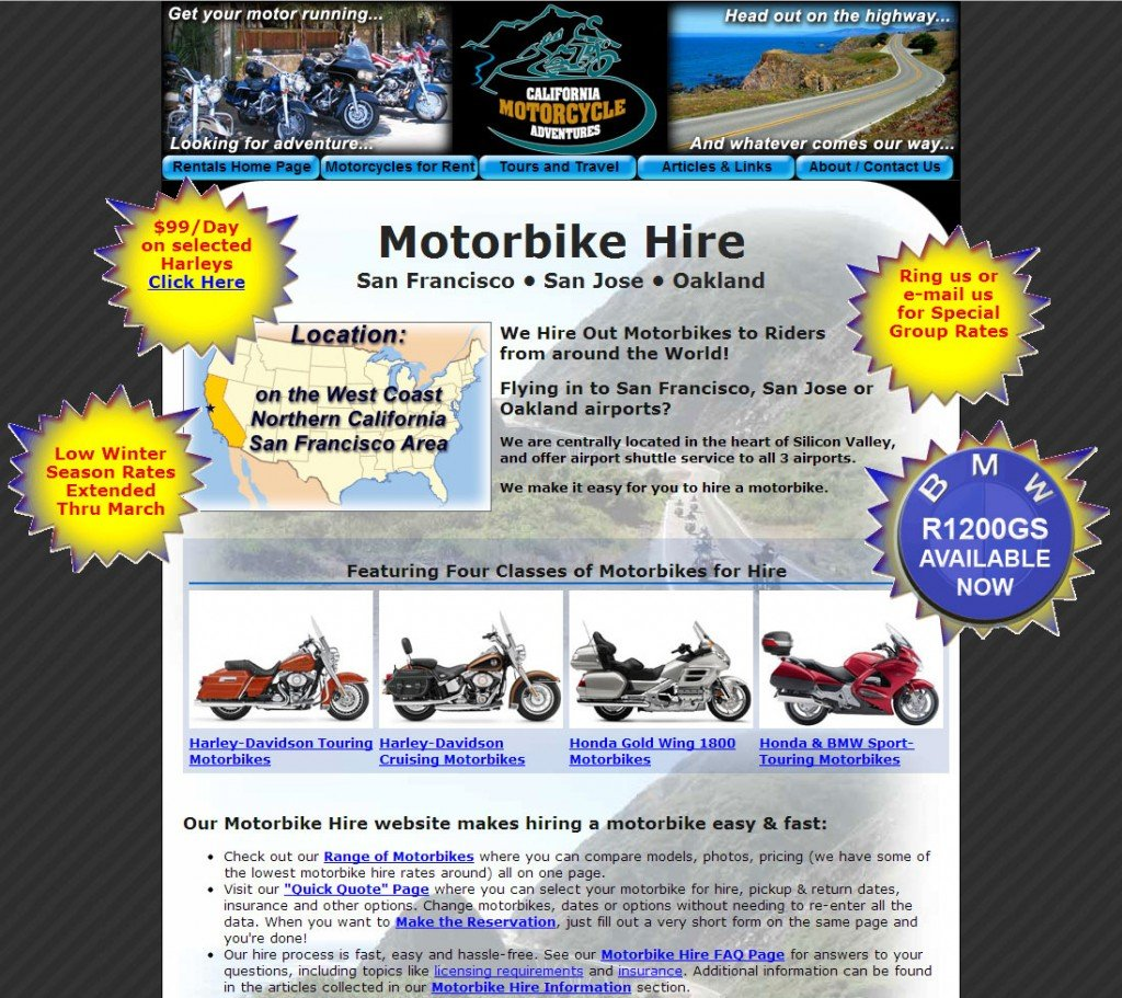 Motorcycle Rental Homepage - (Commonwealth) English version