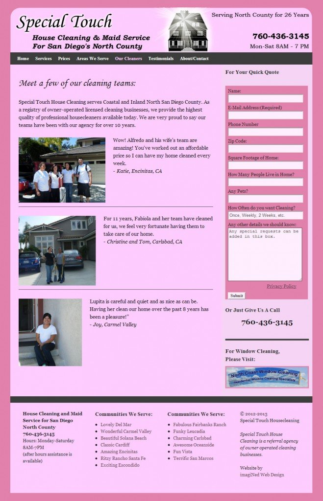 Housecleaning page showing cleaning teams