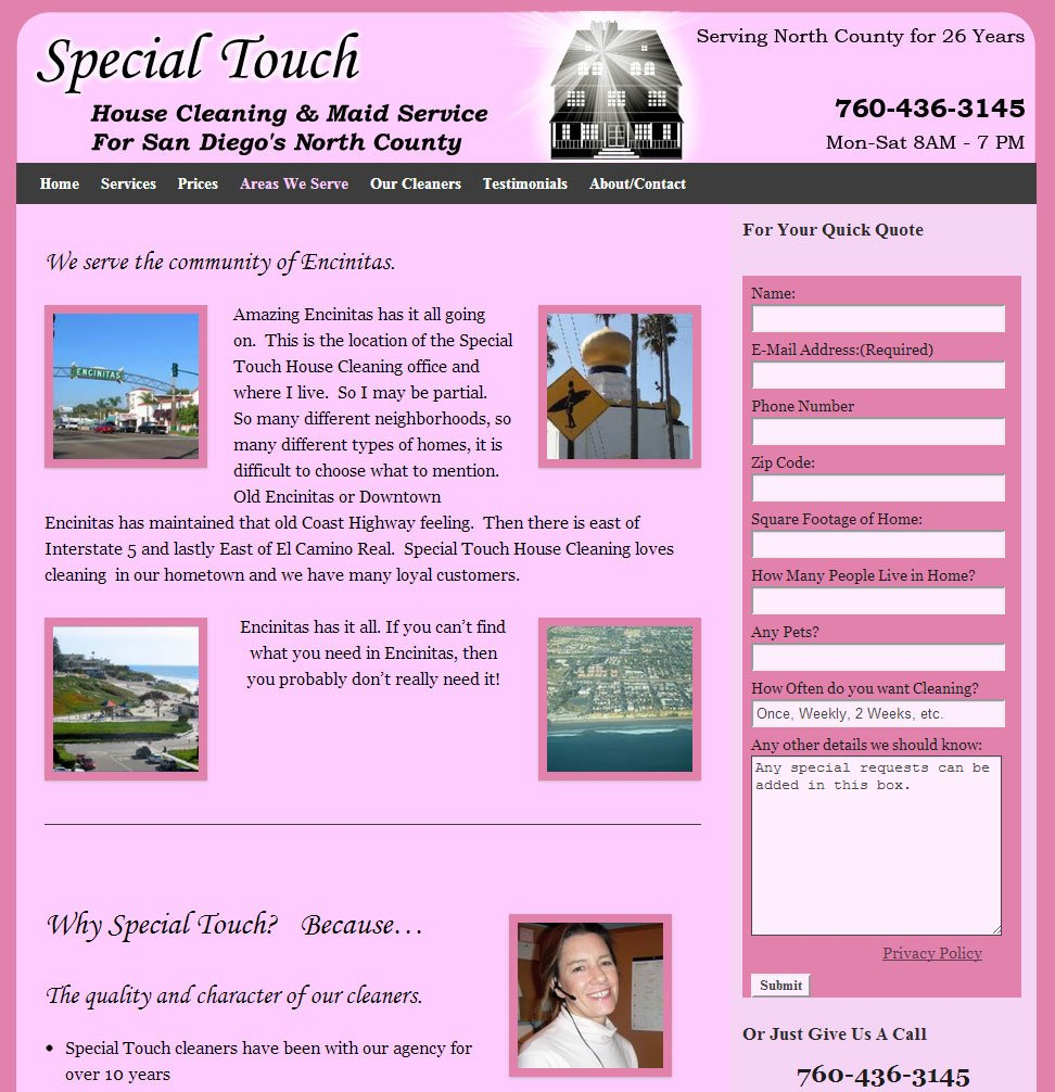 Locality specific page for house cleaning site
