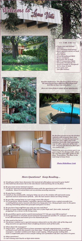 Example of Craigslist Rental ad with layout