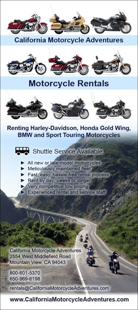 Front of Rack Card for Motorcycle Rental