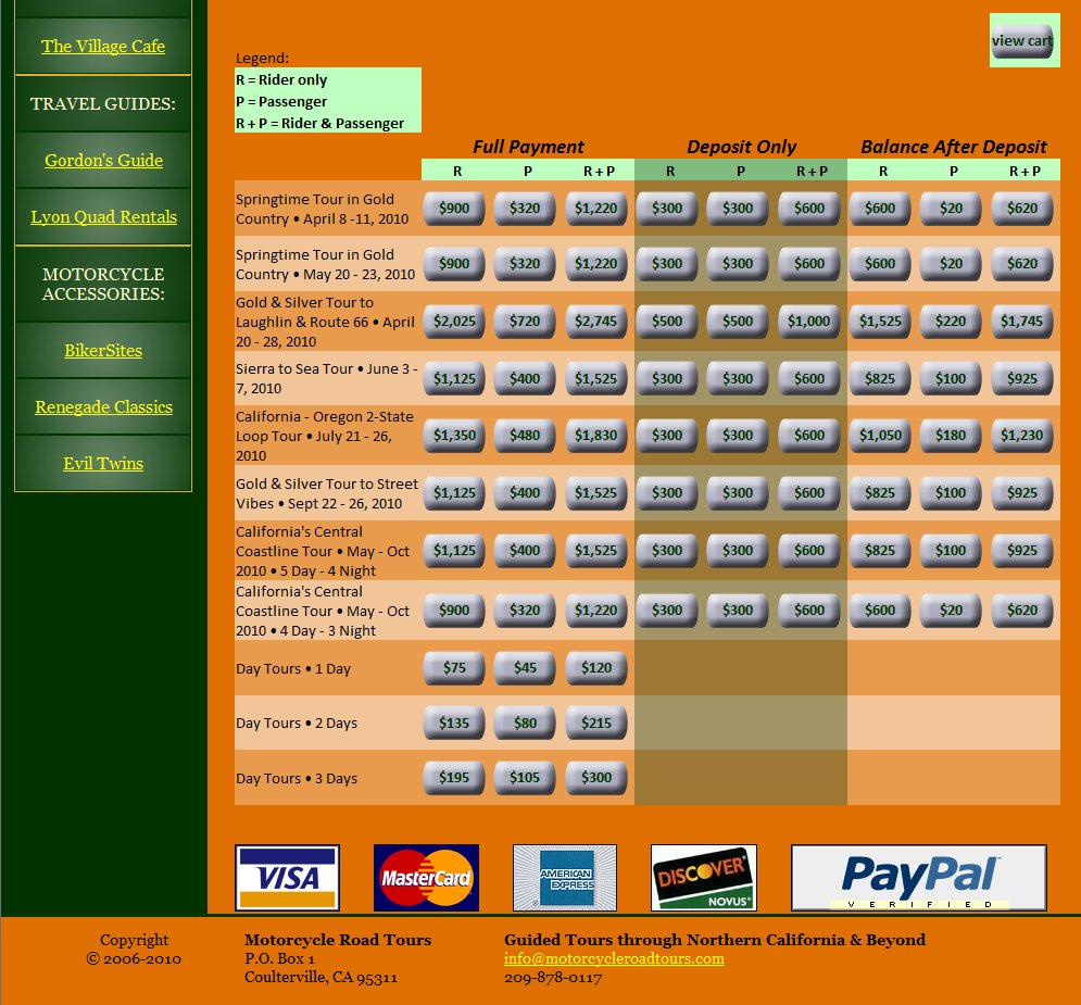 MotorcycleRoadTours.com - Paypal payment matrix