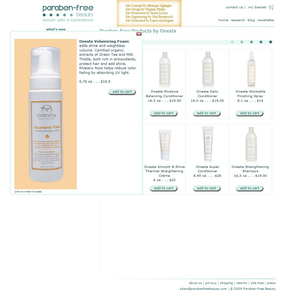 Paraben Free Beauty - Pop up of product detail