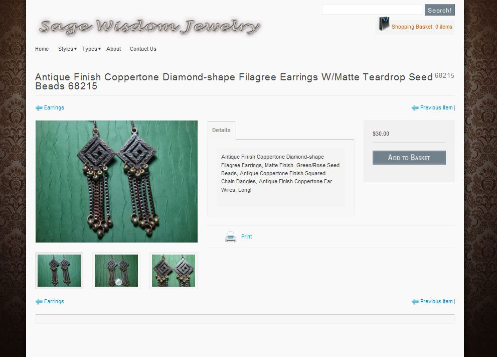 Purchase page - designer earrings