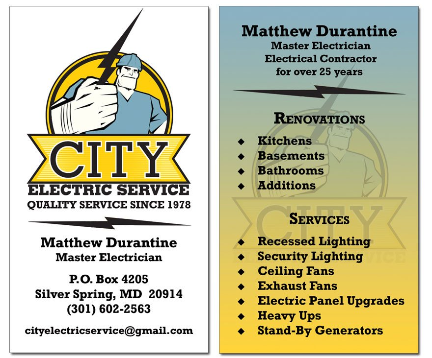 front back of business card for electrician - Electrician Business Cards