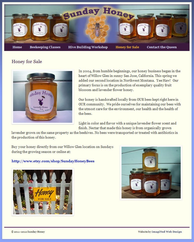 Product Page for honey sales