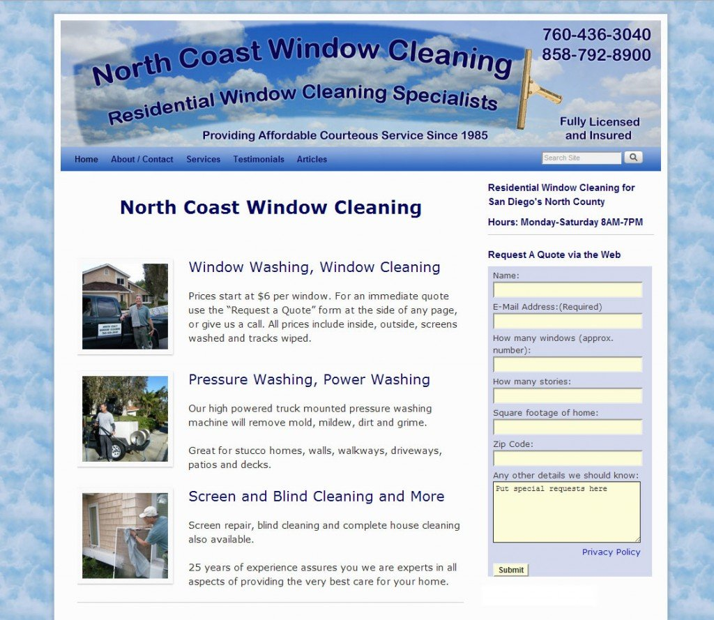 Home Page (top portion) for Window Cleaning Service Websiite