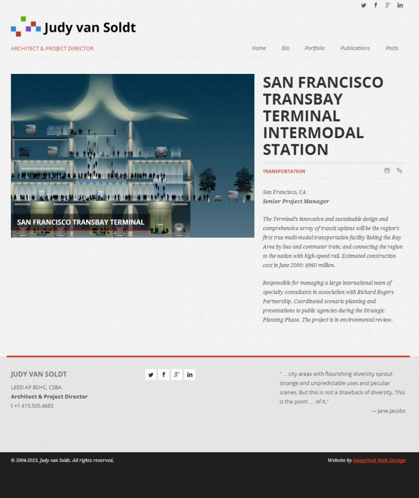 Portfolio detail page for architect website