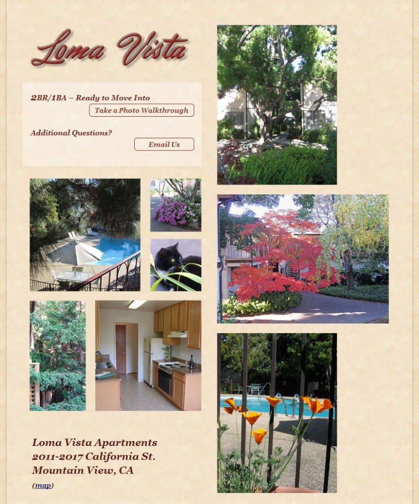 Home Page of Loma Vista Apartment Rental website