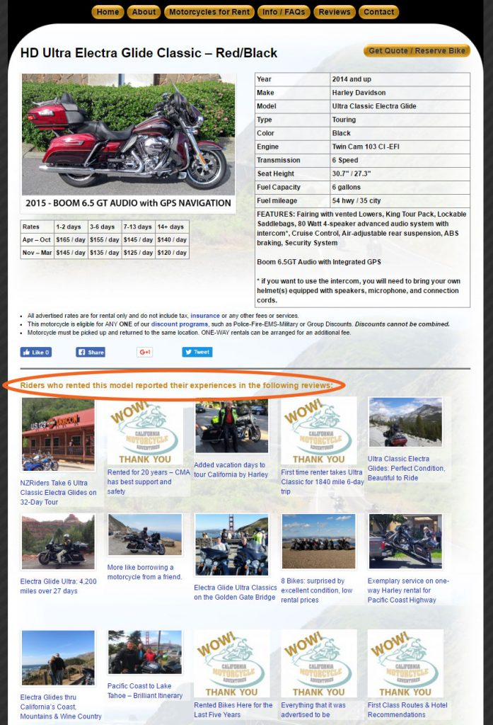 Motorcycle details page with reviews relevant for that model