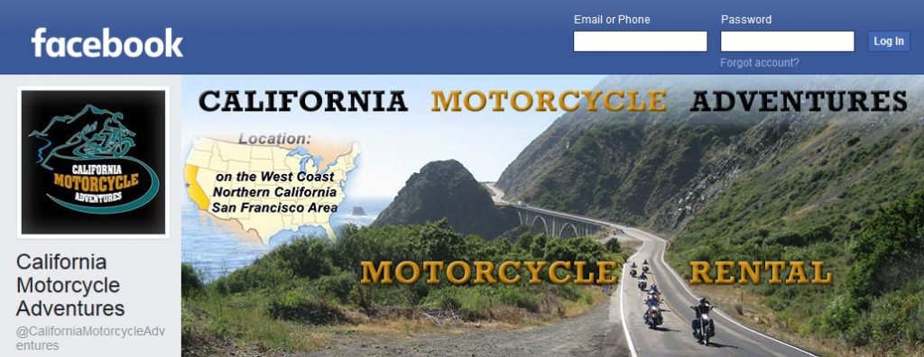 Facebook Business Page for California Motorcycle Adventures