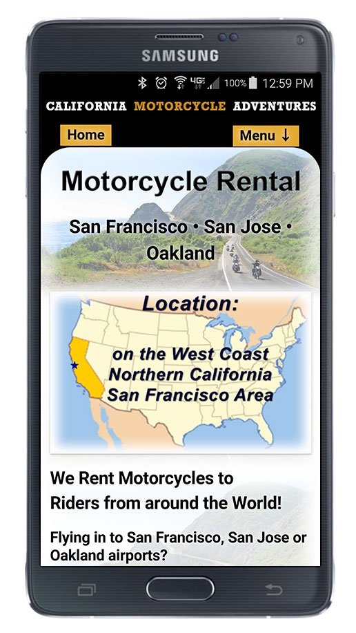 CaliforniaMotorcycleAdventures.com home page viewed on phone