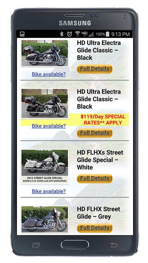 Motorcycle fleet listing viewed on phone