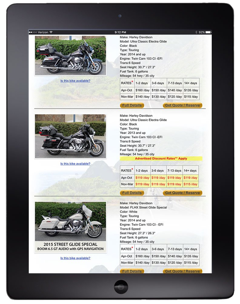 Motorcycle fleet listing viewed on tablet