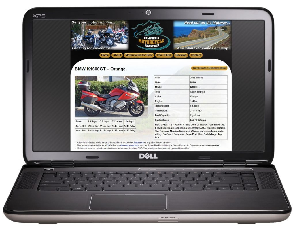 Motorcycle detail page on laptop