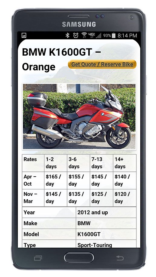 Motorcycle detail page on phone