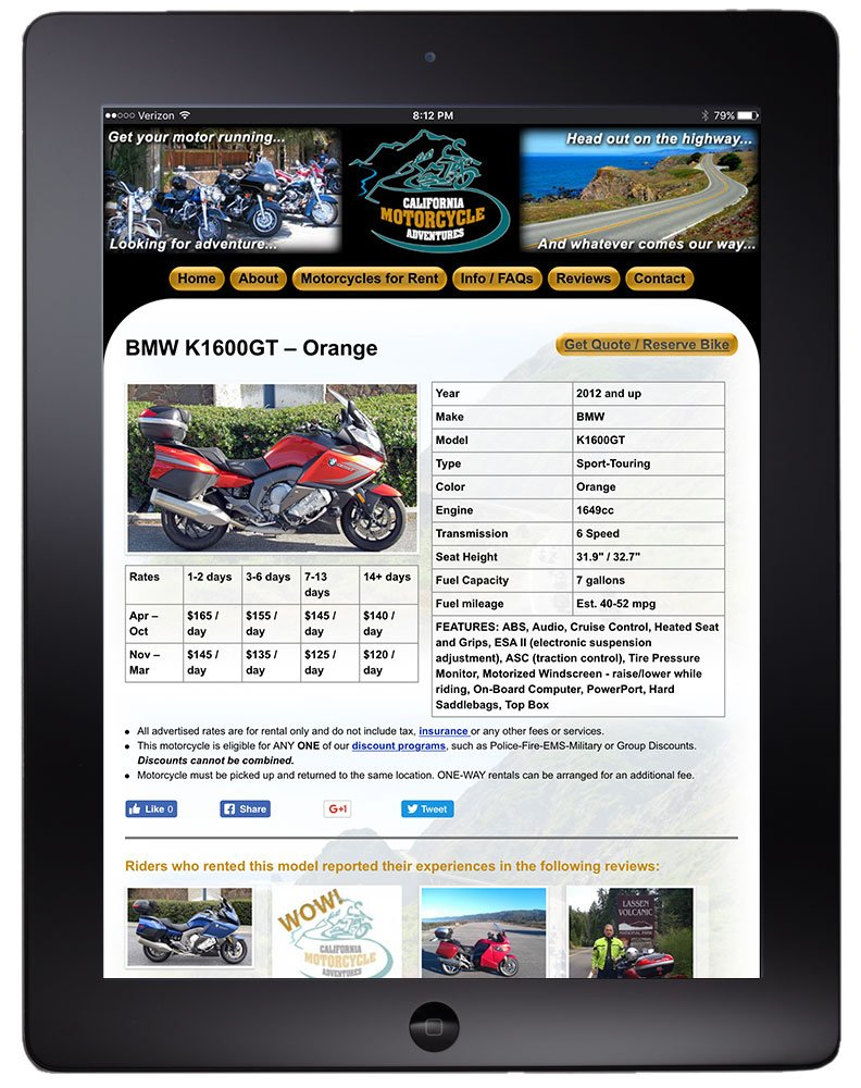 Motorcycle detail page on tablet