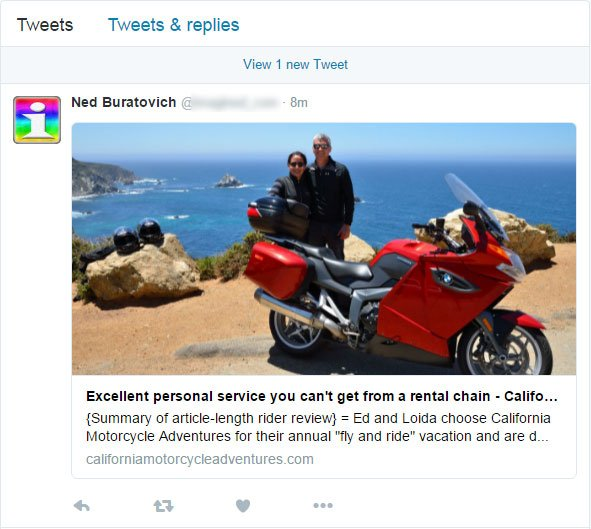 Tweeting testimonial link retains title and photo on Twitter