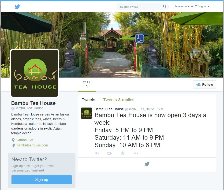 Bambu Tea House Twitter account created, showing first tweet.