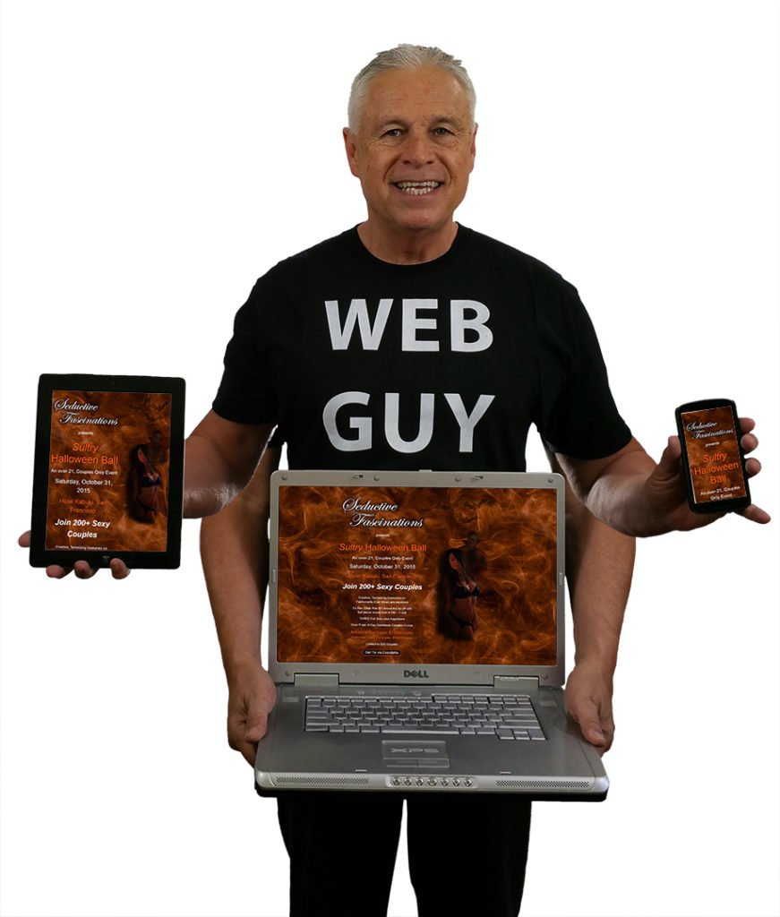 Web Guy Ned holds up laptop, tablet, phone displaying SeductiveFascinations.com website responsiveness.