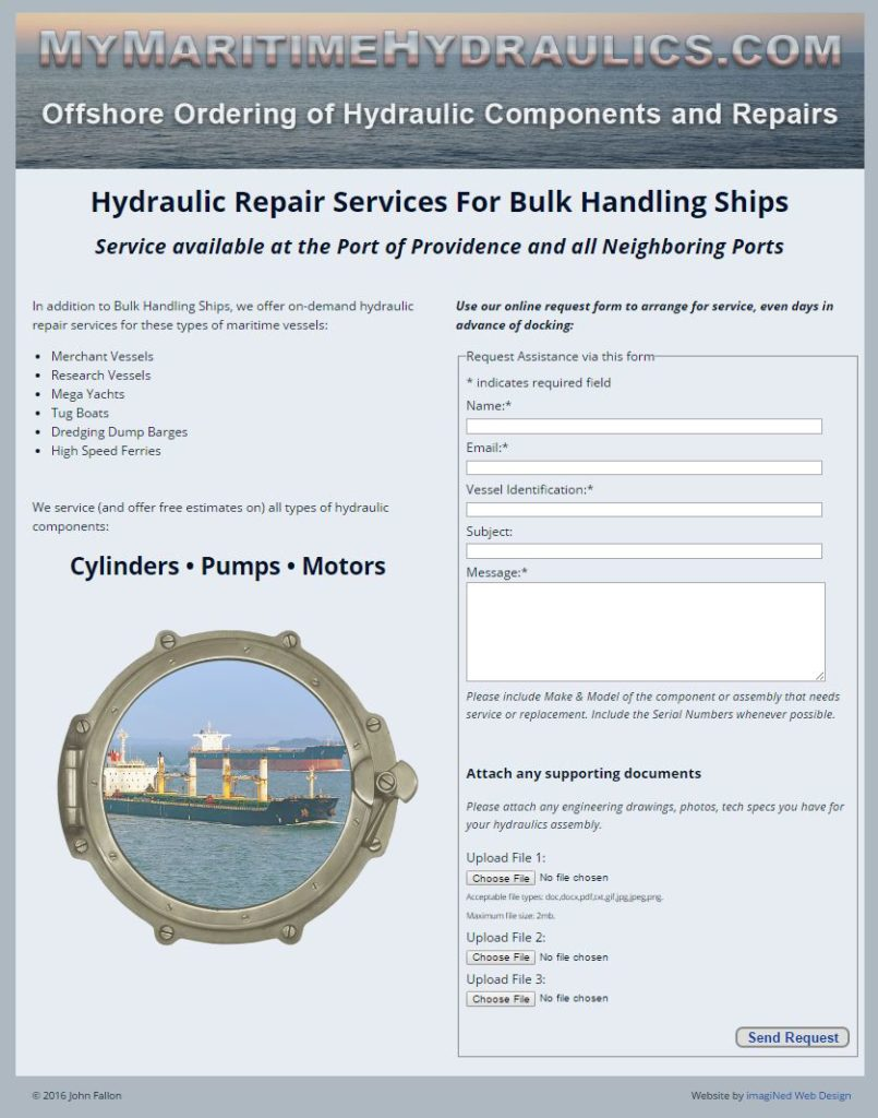 MyMaritimeHydraulics.com one page website